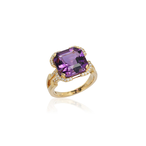Gossip Amethyst and Diamond Emerald Cut Ring