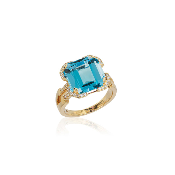 Gossip Blue Topaz and Diamond Emerald Cut Ring