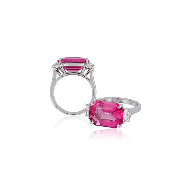 G-One Pink Tourmaline and Diamond Ring