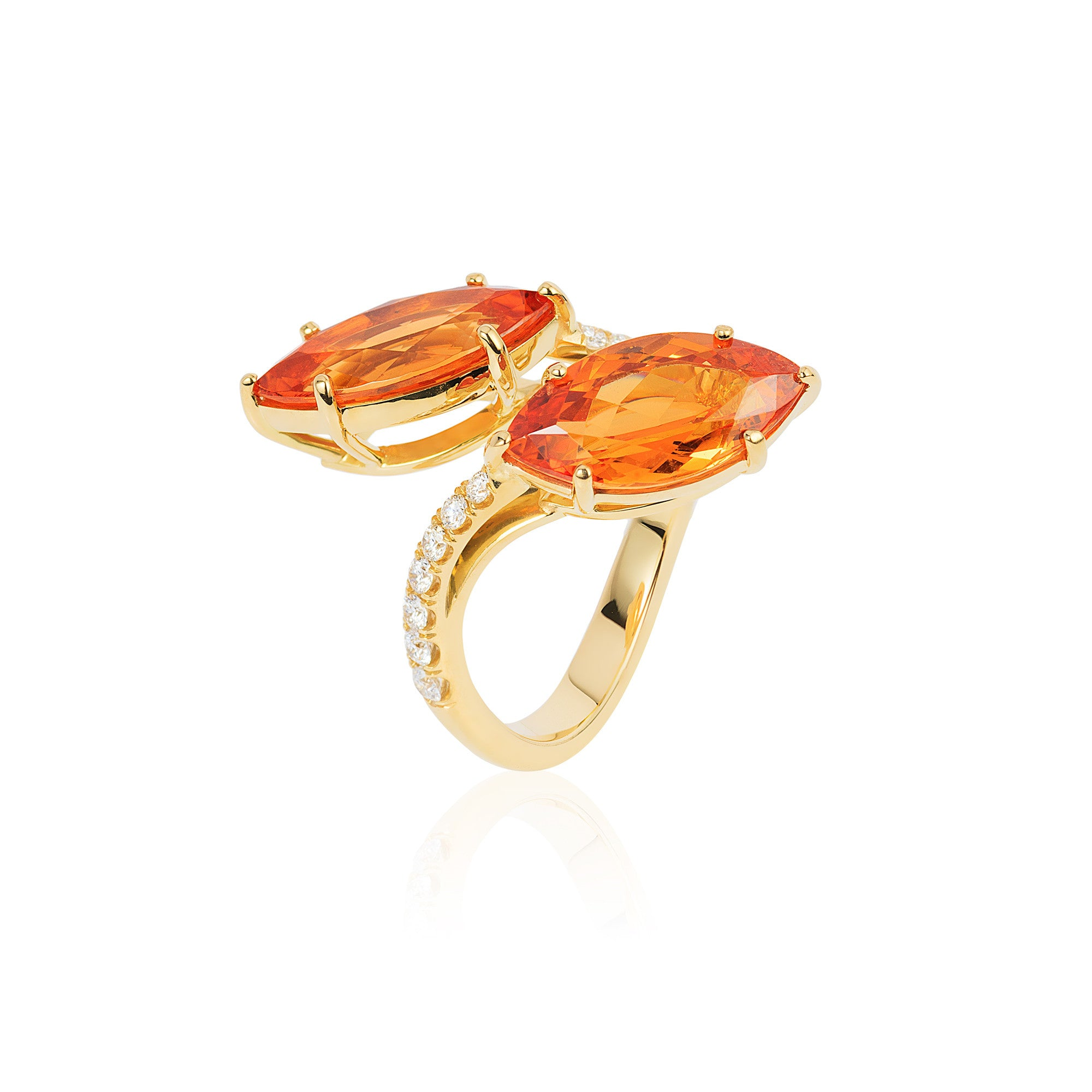 G-One Mandarin Garnet and Diamond Marquise Twin Ring