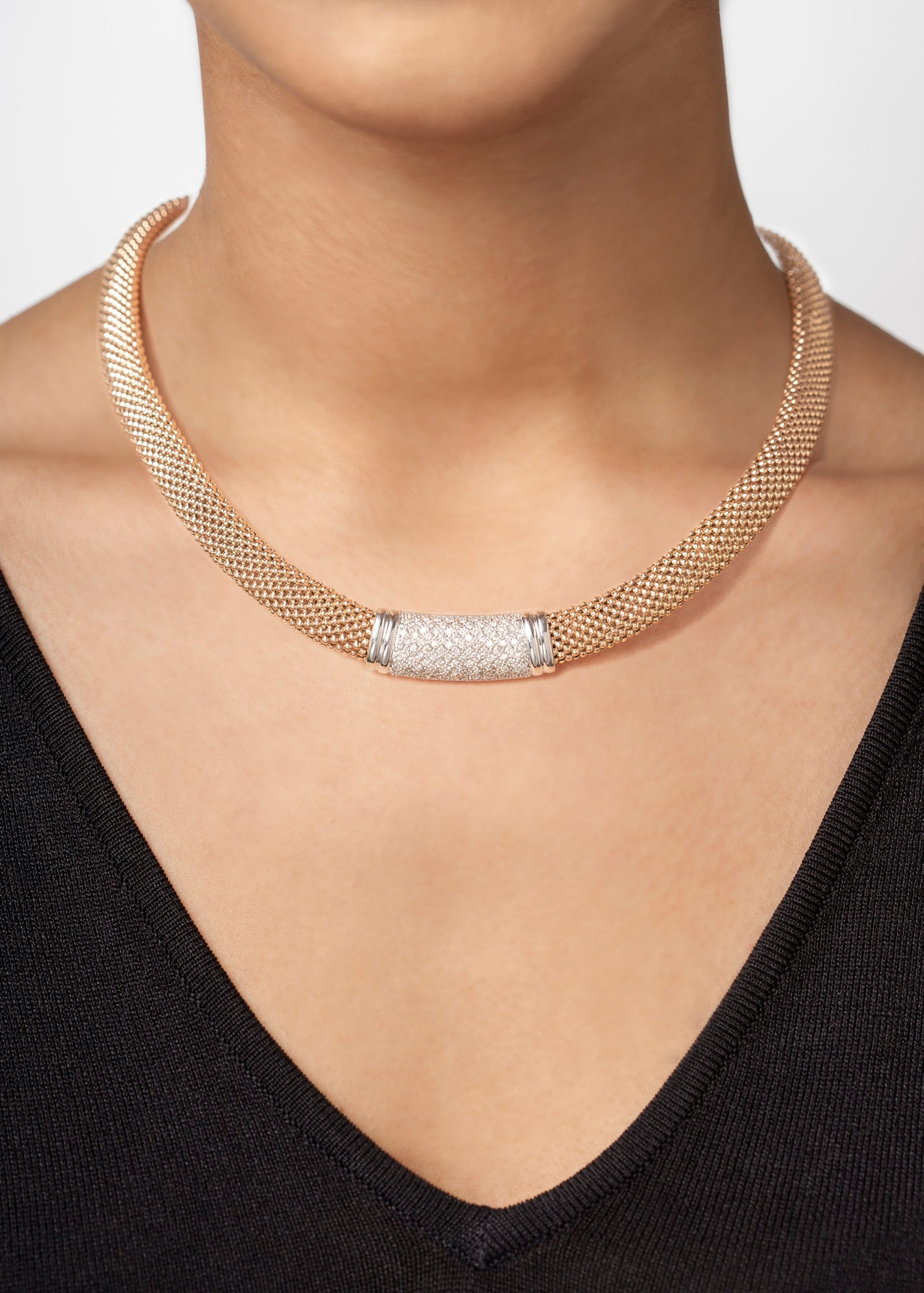Mesh Gold & Pavé Diamond Necklace--40% OFF!