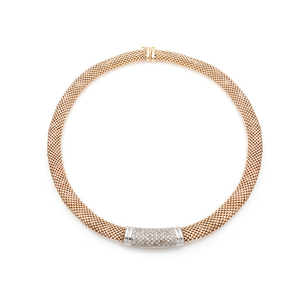 Mesh Gold & Pavé Diamond Necklace