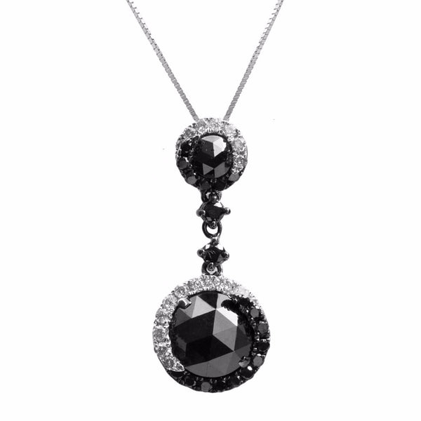 Black and White Diamond Drop Pendant