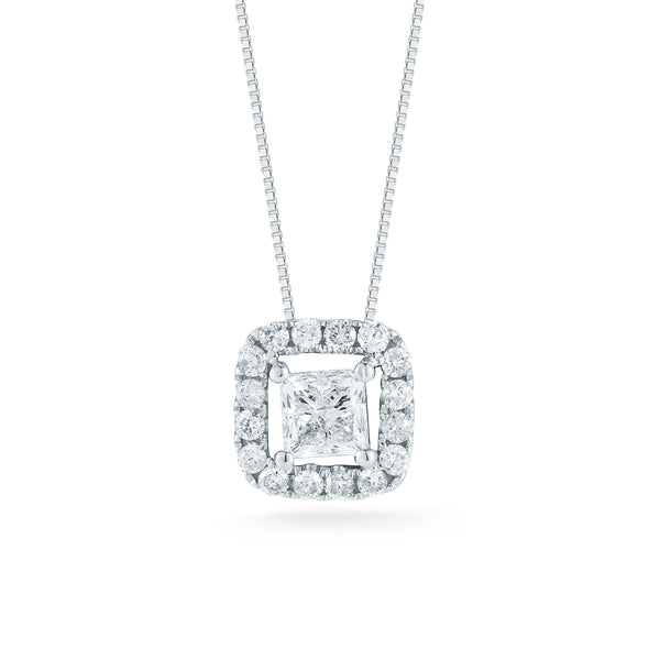 Four Prong Princess Cut Diamond Halo Pendant- 40% OFF! FINAL MARKDOWN!