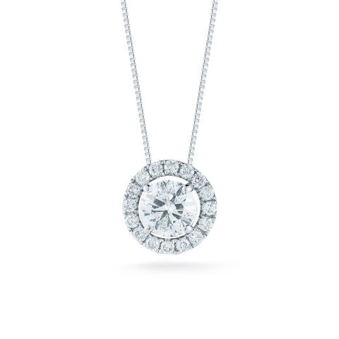 Four Prong Round Diamond Halo Pendant—50% OFF! ONLY 1 LEFT!