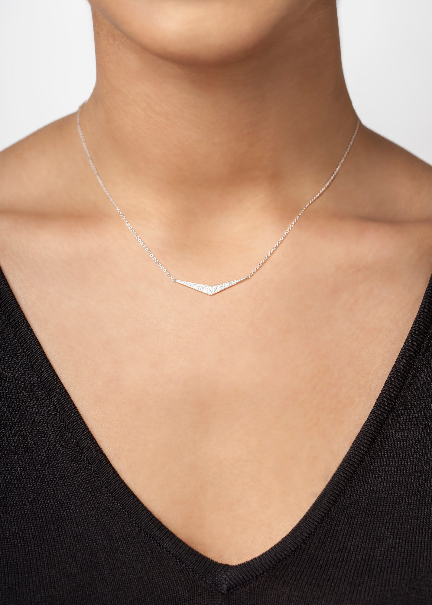 Pavé Wide 'V' Diamond Necklace--50% OFF--ONLY 1 LEFT!