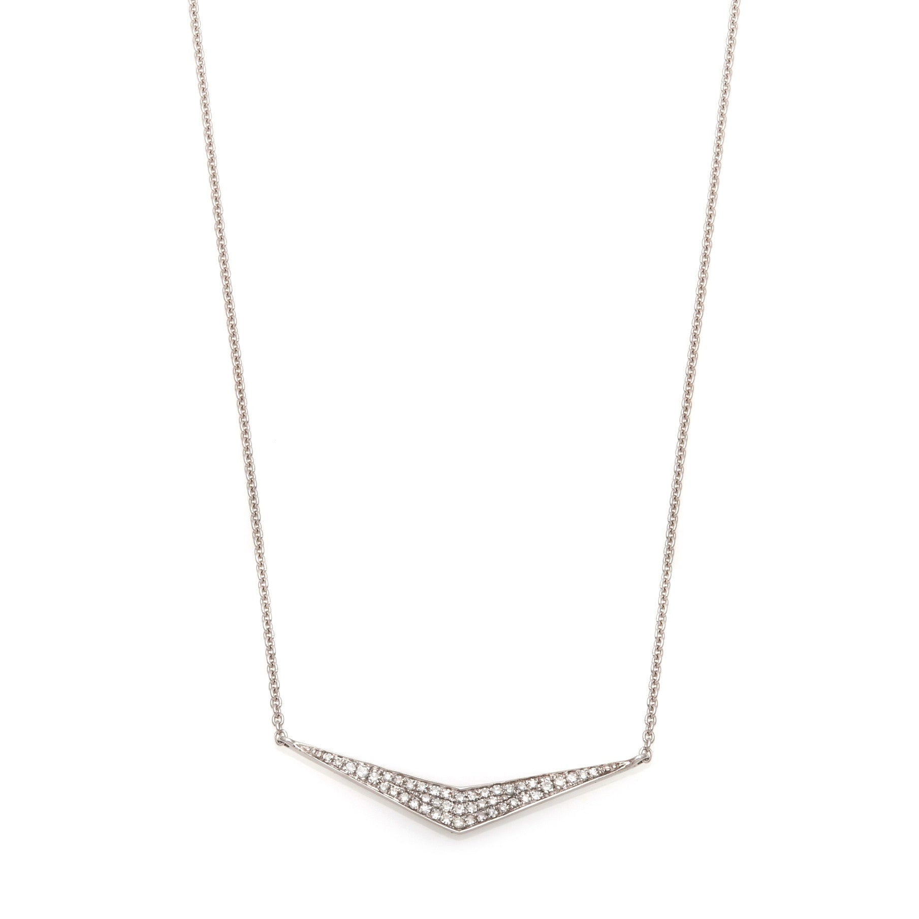 Pavé Wide 'V' Diamond Necklace--65% OFF