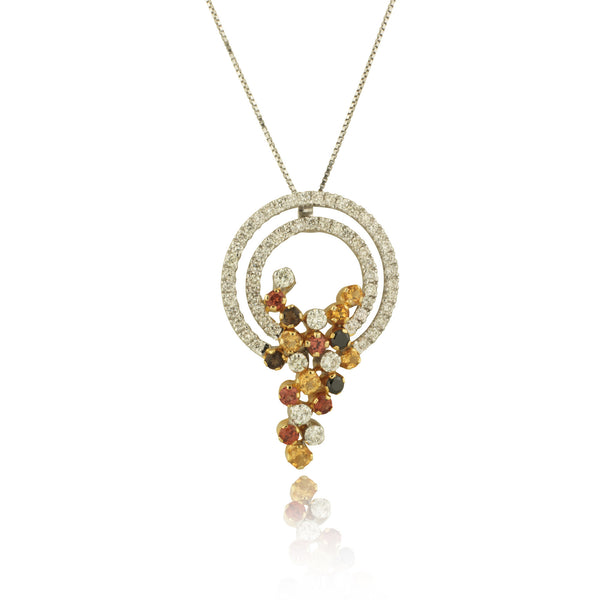 Diamond Pendant with Multi Color Gems Motif