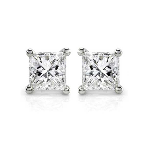 Four Prong Princess Cut Diamond Solitaire Studs