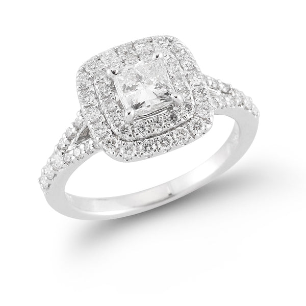 Double Halo Split Shank Princess Cut Halo—50% OFF!
