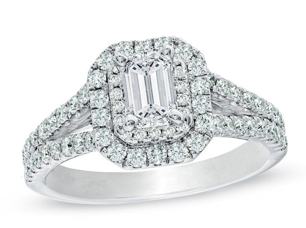 Double Halo Split Shank Emerald Cut Halo—50% Off!