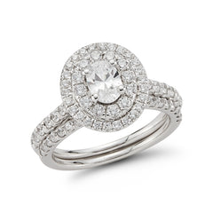 Double Halo Split Shank Oval Cut Halo with Matching Band—50% Off!