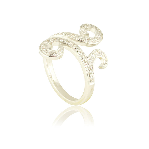 Curved White Diamond Ring