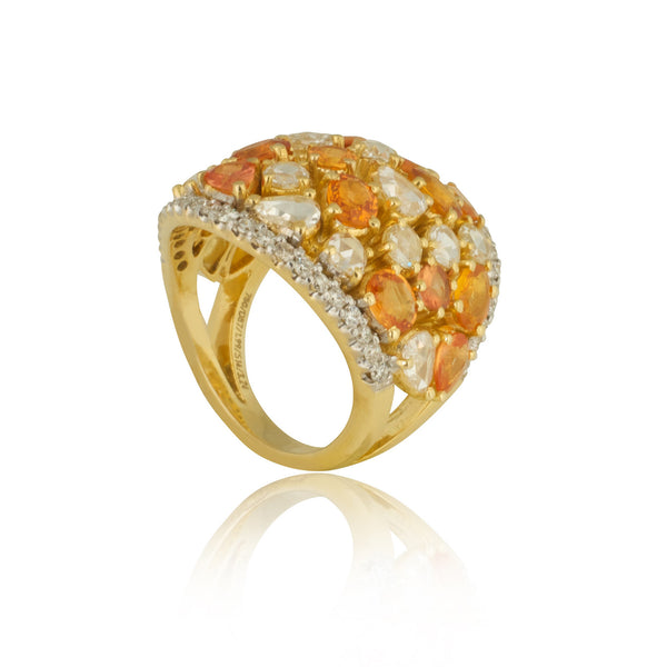 Yellow Sapphire with Diamonds Cocktail Ring