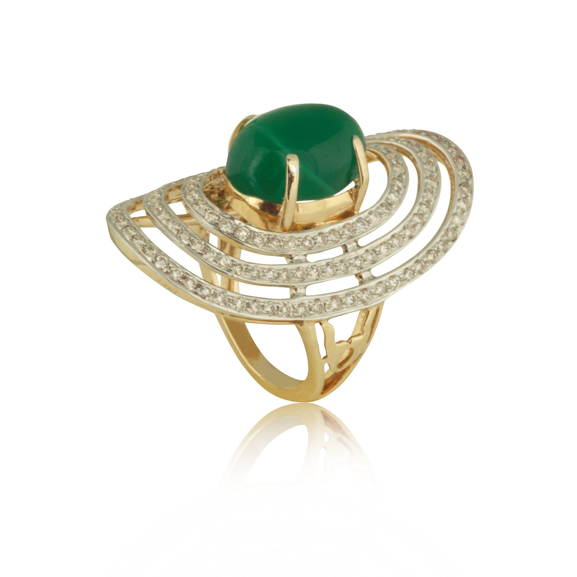 Diamond Accented with Green Onyx Cocktail Ring