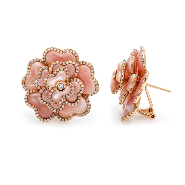 Pink Shell & Diamond Flower Earrings--50% OFF!