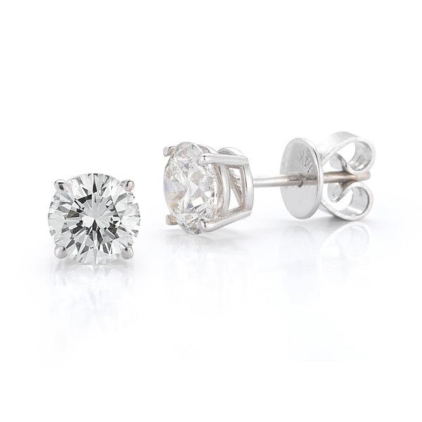 Four Prong Round Brilliant Cut Diamond Solitaire Studs—UPTO 50% OFF! LOW STOCK!