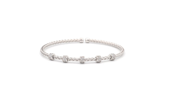 Narrow 5 Bar Mesh Silver Bangle