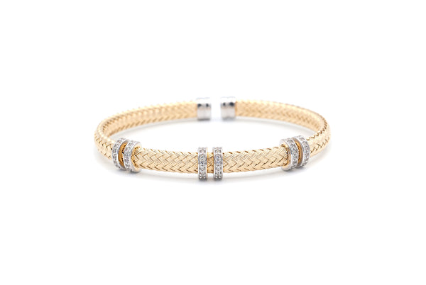 Double Bar Mesh Silver Bangle