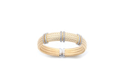 Wide Double Bar Mesh Silver Bangle