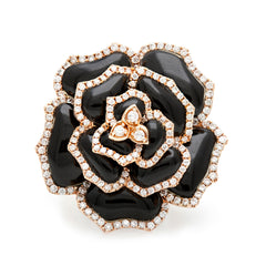 Black Agate & Diamond Flower Ring-50% OFF!