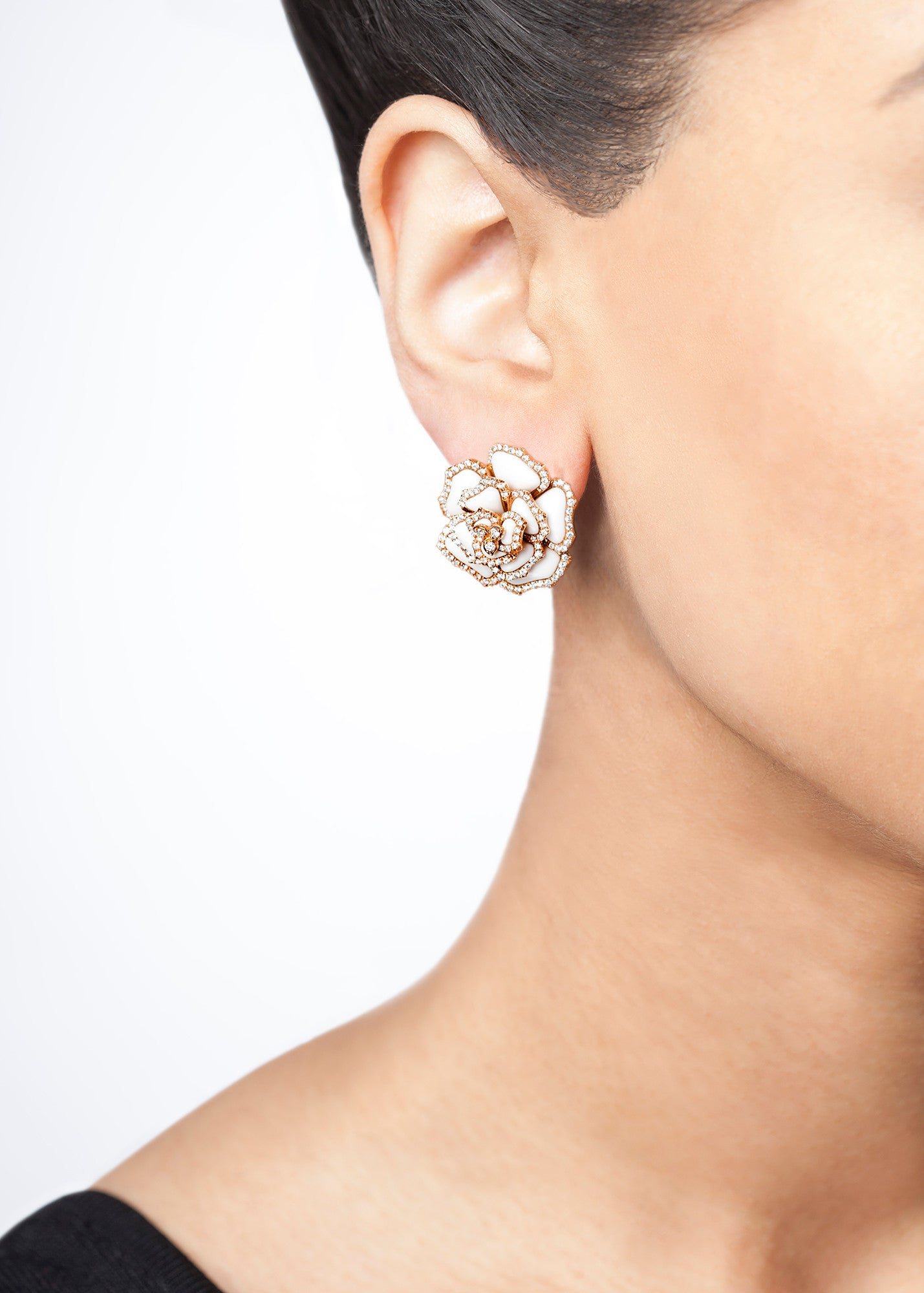 Agate & Diamond Flower Earrings (Black/White)-50% OFF!
