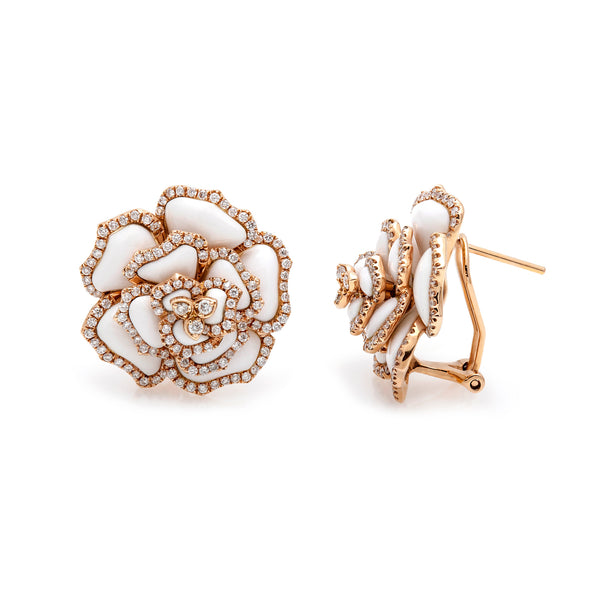 White Agate & Diamond Flower Earrings-50% OFF!