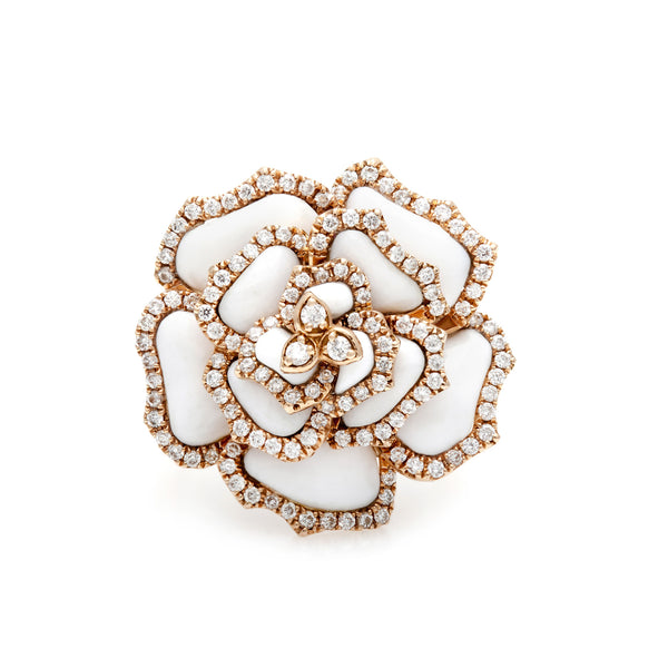 White Agate & Diamond Flower Ring-50% OFF!