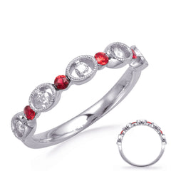 Alternating Diamonds and Ruby Ring