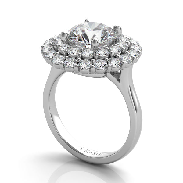 Statement Double Halo Engagement Ring