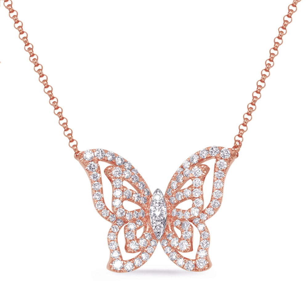 The Pink Butterfly Necklace--ON SALE 50% OFF!