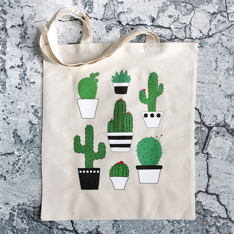 Reusable Canvas Cactus Tote Bag