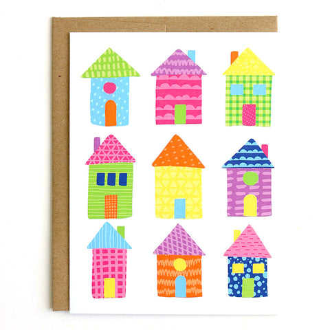 Colorful Houses Card