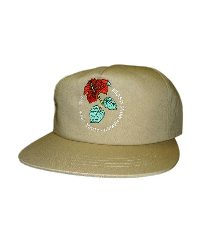 island-snow-hawaii-hats-one-size-khaki-island-snow-hawaii-unstructured-snapback-hat-is-hibiscus-front