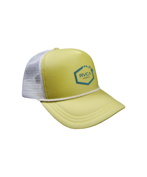 rvca-womens-hats-bright-lemon-one-size-rvca-hawaii-womens-trucker-hat-island-hex-front