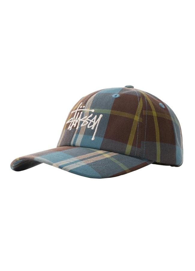 stussy-hats-blue-one-size-stussy-strapback-hat-big-logo-madras-plaid-low-pro-front