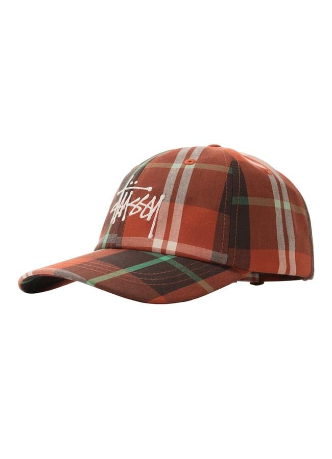 stussy-hats-orange-one-size-stussy-strapback-hat-big-logo-madras-plaid-low-pro-front