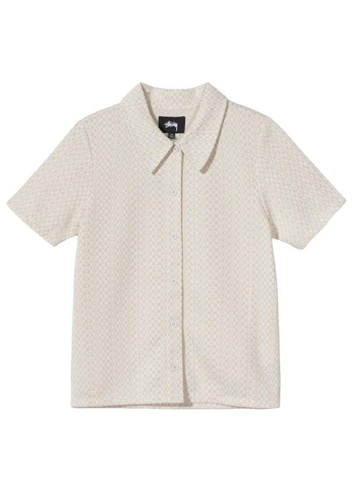 stussy-womens-shirts-white-x-small-women-s-button-up-shirt-tonal-jacquard-poly-knit-front