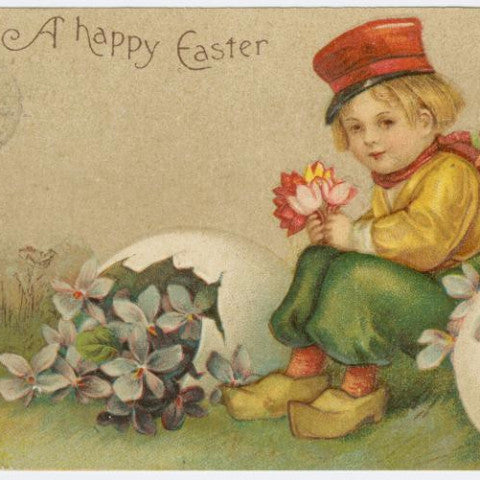 "Digital Download ""A Happy Easter"" Easter Postcard (c.1909) - Instant Download Printable - thirdshift"