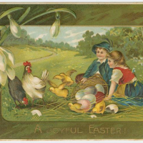 "Digital Download ""A Joyful Easter"" Easter Postcard (c.1909) - Instant Download Printable - ThirdShiftVintage.com"