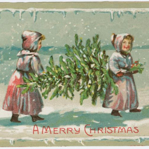 "Digital Download ""A Merry Christmas"" Christmas Postcard (c.1910) - Instant Download Printable1 - ThirdShiftVintage.com"