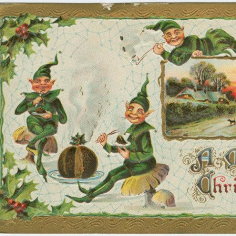 "Digital Download ""A Merry Christmas"" Christmas Elves Postcard (c.1910) - Instant Download Printable - ThirdShiftVintage.com"