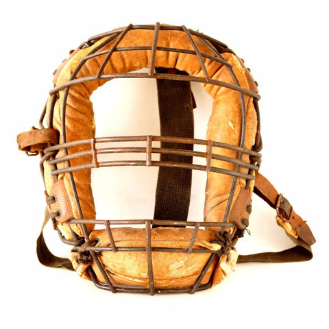 Vintage Baseball Catchers Face Mask with Metal Grid, Leather Straps (c.1930s) - thirdshift