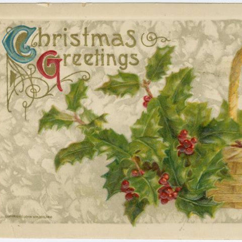 "Digital Download ""Christmas Greetings"" Christmas Postcard (c.1910) - Instant Download Printable - thirdshift"