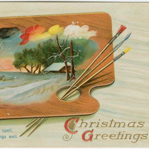 "Digital Download ""Christmas Greetings"" Christmas Postcard (c.1912) - Instant Download Printable - ThirdShift Vintage"