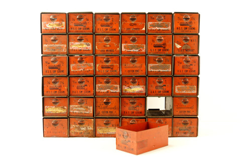 Vintage Dorman Parts Drawer Hardware Bin with 36 Drawers in Rustic Orange (c.1950s)