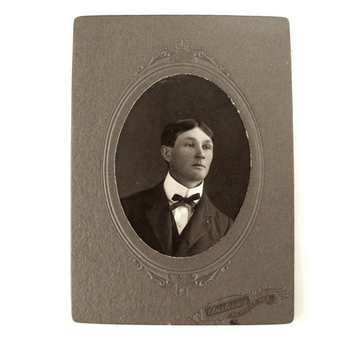 Antique Photograph Cabinet Card of Young Man from Nebraska (c.1890s) - ThirdShiftVintage.com