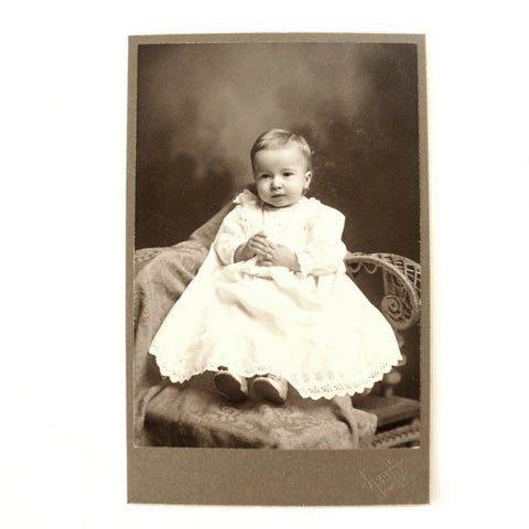 Antique Photograph Cabinet Card of Baby from Pontiac Illinois (c.1890s) - ThirdShiftVintage.com