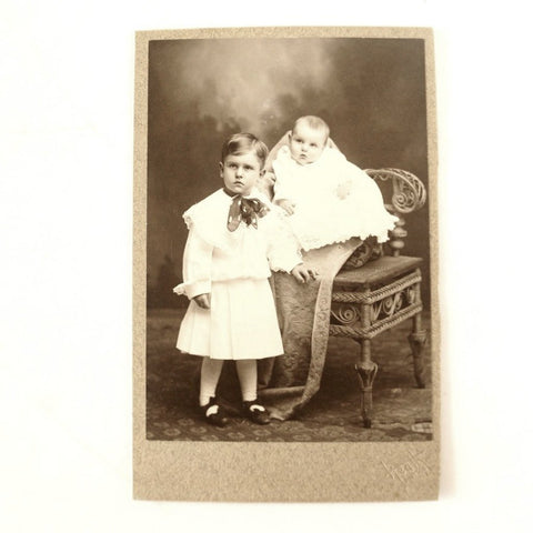 Antique Photograph Cabinet Card of Two Children from Pontiac Illinois (c.1890s) - thirdshift