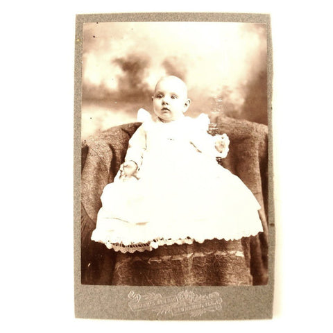 Antique Photograph Cabinet Card of Baby from Saunemin Illinois (c.1890s) - ThirdShiftVintage.com